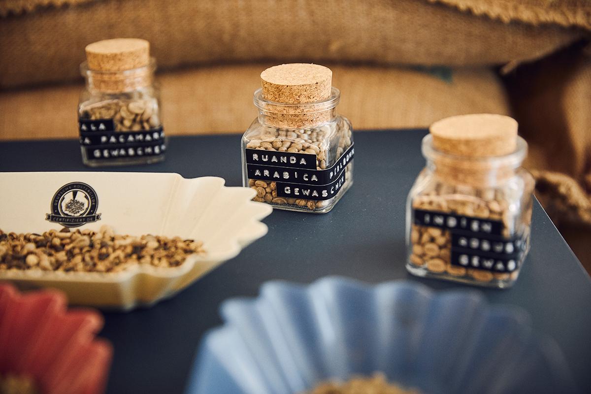 Muster von Rohkaffee in der Wildkaffeerösterei