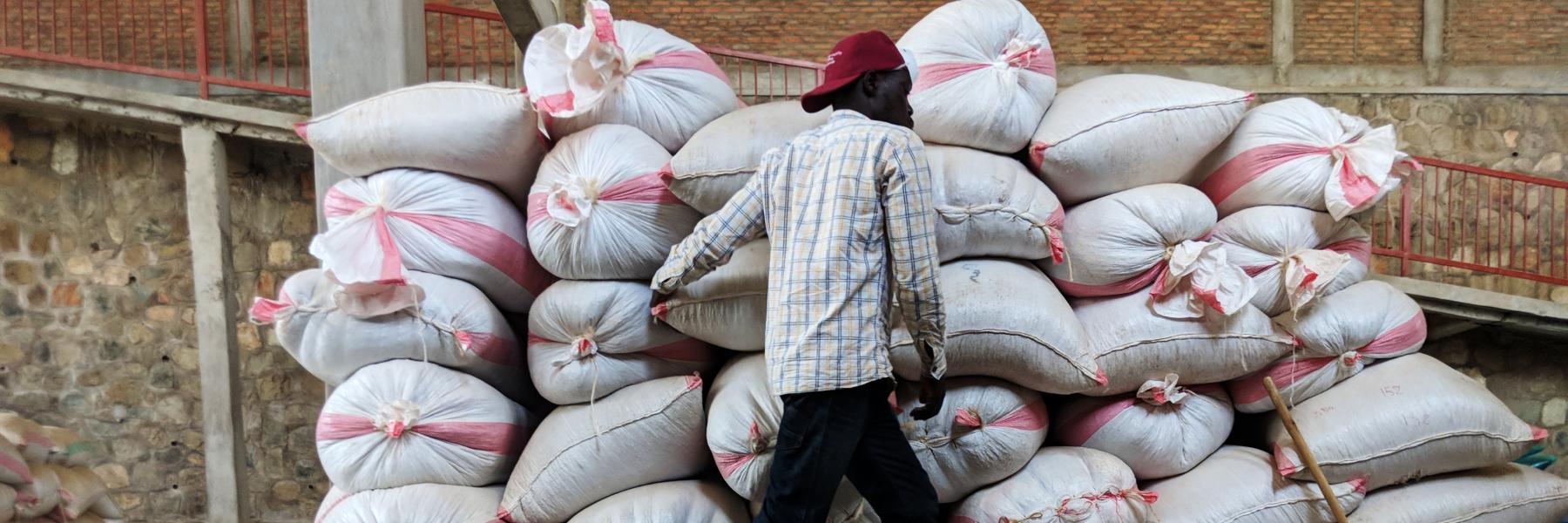 Kaffeesäcke in Ruanda